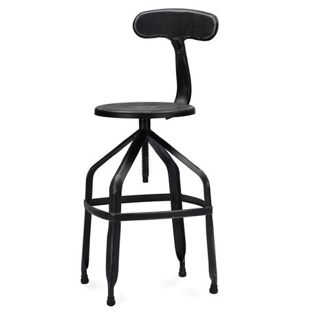 Black Bar Stool With Backrest by Architects Industrial Antiqued Black Bar Stool With Backrest