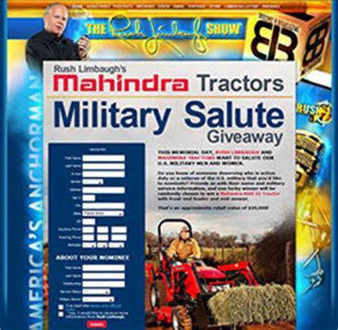 Tractor Sweepstakes - mahindra usa and rush limbaugh salute military vanco outdoor