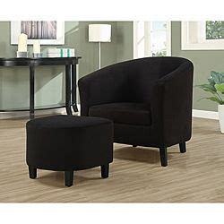Microfiber Accent Chairs Living Room Monarch Black Padded Microfiber Accent Chair And Ottoman