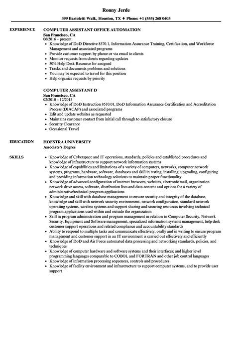 computer assistant resume sles velvet