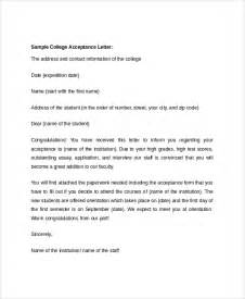 sample college acceptance letter 7 documents in pdf word