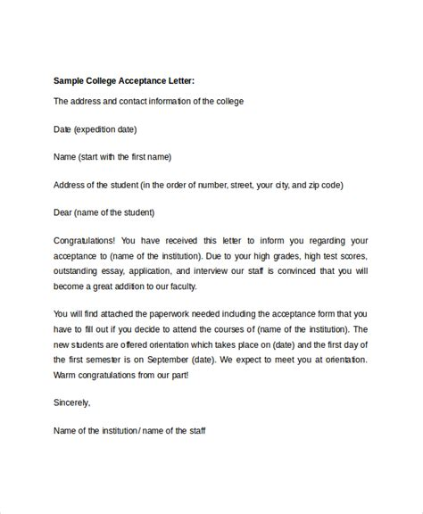 College Letter Of Acceptance Template Sle College Acceptance Letter 7 Documents In Pdf Word
