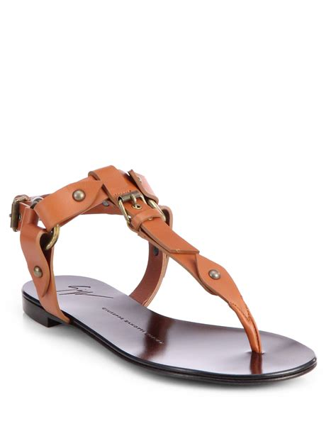 brown sandals giuseppe zanotti buckle sandals in brown lyst