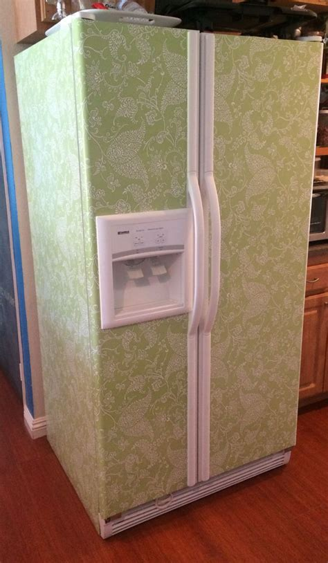 How To Make A Paper Refrigerator - cover white refrigerator with contact paper i pinned