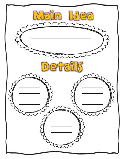 idea organizer organic main idea graphic organizer