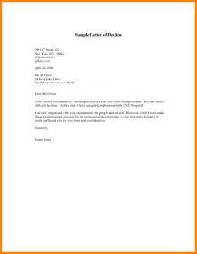 Decline Offer Letter Exles 10 decline offer letter coaching resume