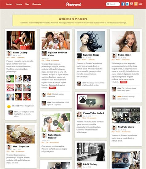 pinterest clone layout 7 pinterest clone themes for wordpress wp solver