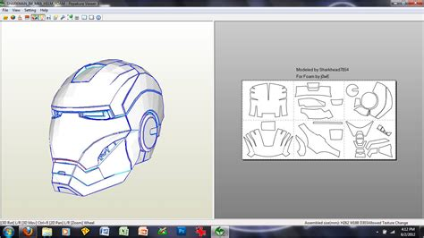 Ironman Helmet Papercraft - 11 images of iron helmet pepakura foam template