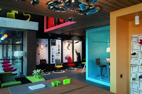 Colorful Office Chairs Design Ideas Formal Factory Turned Into A Colorful Office And Showroom