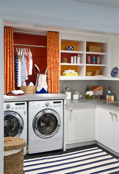 White Cafe Curtains Orange Curtains Contemporary Laundry Room Benjamin