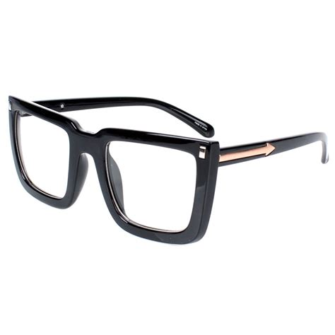 encacc big square nerdy thick plastic frame clear lens eye