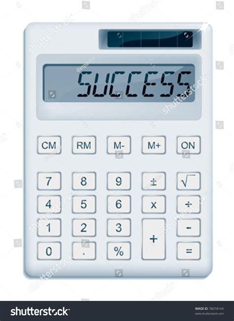 office calculator displaying a success message stock