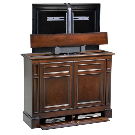 chatham brown 360 swivel tv lift cabinet foot of the bed