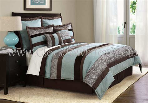 Blue And Brown Bedding Set 8pc Soho Cool Aqua Blue Brown Comforter Set Cs7927ab8