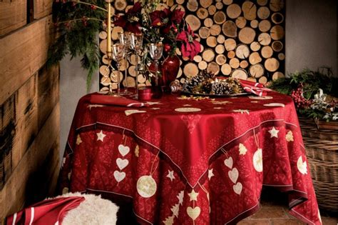 l hiver winter joy red tablecloth french christmas tablecloths