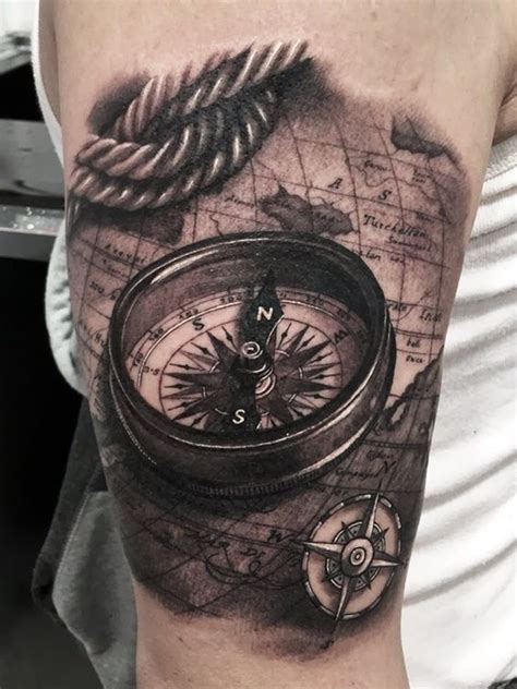 tattoo 3d mapping 23 great compass tattoo ideas for men styleoholic