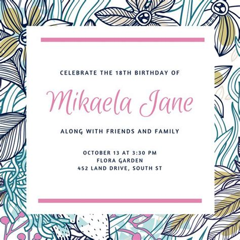 18th birthday card template customize 1 023 18th birthday invitation templates