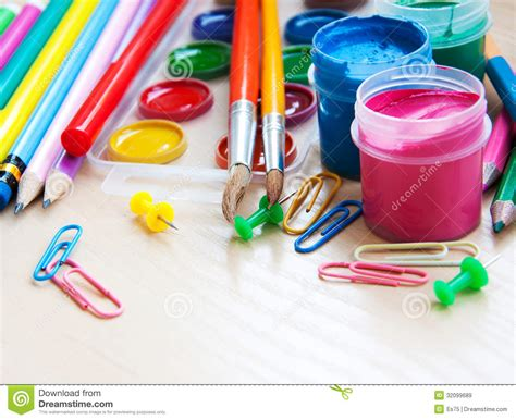 colorful office school supplies royalty free stock image office or school supplies royalty free stock images