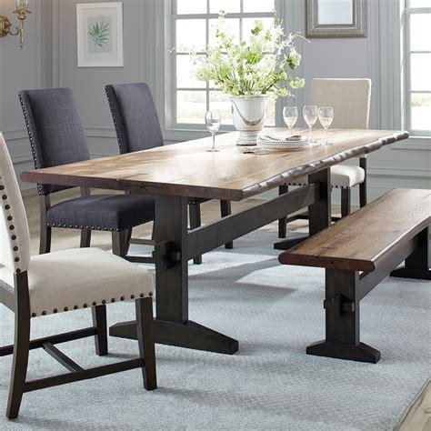 Living Edge Dining Table Shop Living Honey Wood Live Edge Dining Table At Lowes