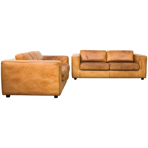 one cushion leather sofa natural leather two cushion sofa by durlet at 1stdibs
