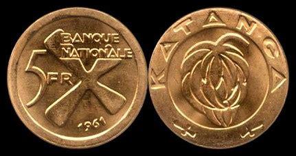 Koin Koleksi Katanga 1 5 Francs 1961 2 Bronze Coins Set km2a 5 francs 1961 gold