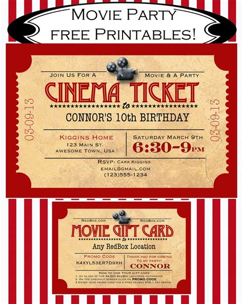 free printable movie tickets invitations movie ticket template pdf search results calendar 2015