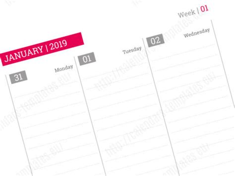 2019 Daily Planner Template With Image In Pdf And Indesign Indesign Planner Template 2018