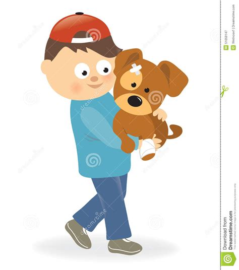 carrying puppy boy holding a puppy with bandaged paw stock vector image 51059147