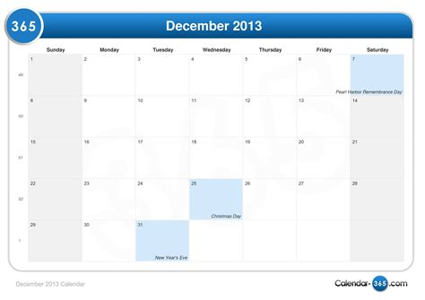 Calendar December 2013 December 2013 Calendar