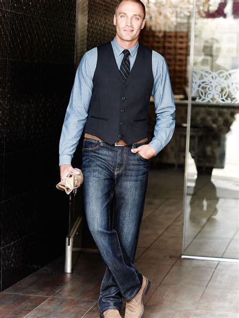jeans vest button  tie boots  belt weekend event