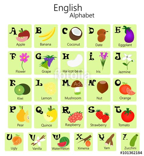a to z vegetables names with pictures quot illustration of alphabet from a to z with fruits