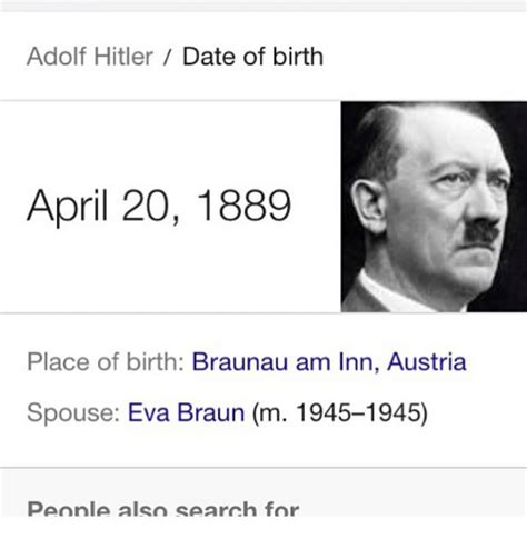Search With Date Of Birth Adolf Date Of Birth April 20 1889 Place Of Birth Braunau Am Inn Austria Spouse