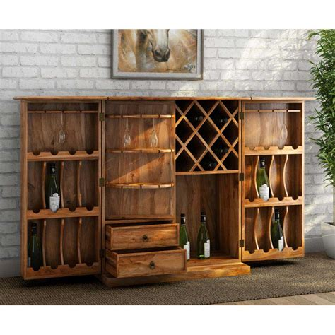 Wood Bar Cabinet Raleigh Solid Rosewood Traditional Hideaway Wine Bar Cabinet