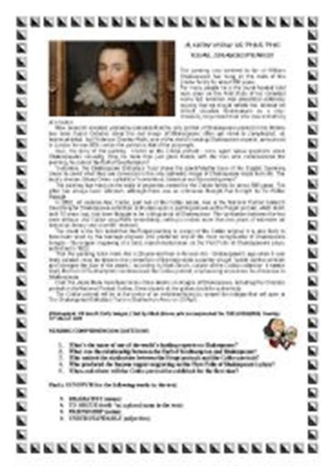 reading comprehension test shakespeare shakespeare 180 s portrait reading comprehension with answers