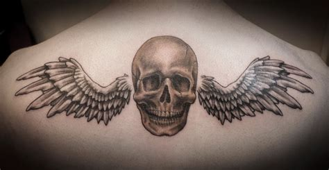 skull with wings tattoo designs skull with wings on back by anthony noble