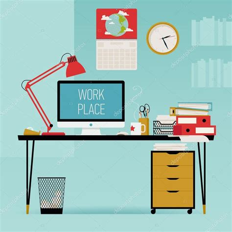 computer desk office works creative office work desk stock vector 169 masha tace