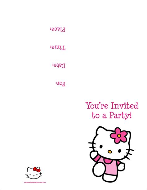 free printable hello kitty birthday party invitations