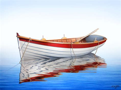 fishing boat art work scarlet reflections painting by horacio cardozo
