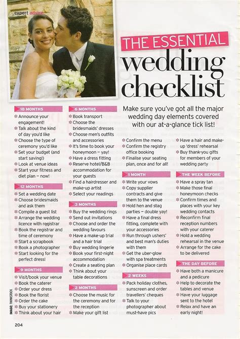 Wedding Checklist Uk Printable by 6 Best Images Of Order Of The Wedding Planning Checklist