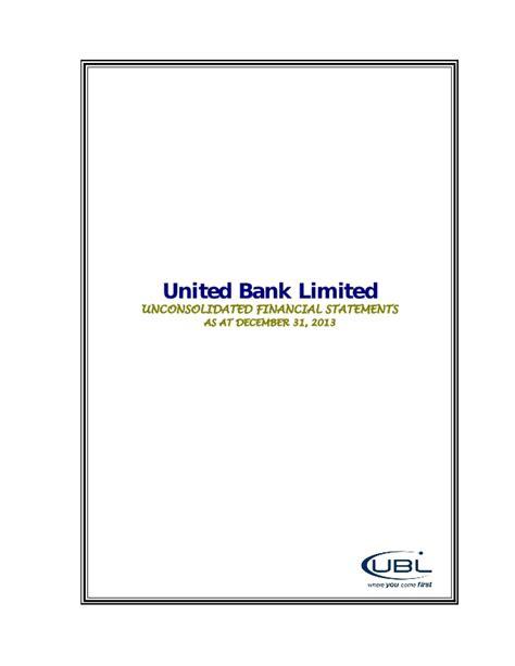 ubl bank statement ubl q4 2013