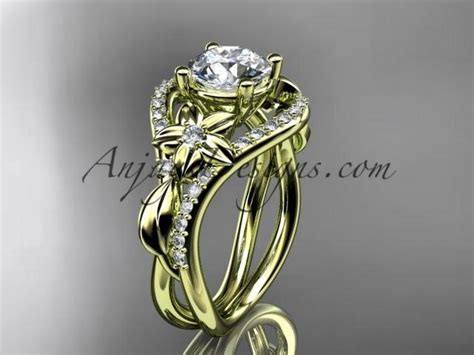 unique 14kt yellow gold leaf and vine wedding ring