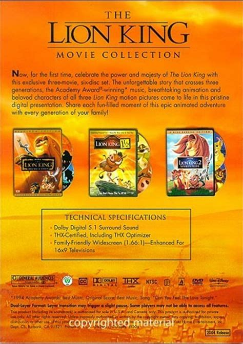 lion film collections lion king movie collection the dvd 2004 dvd empire