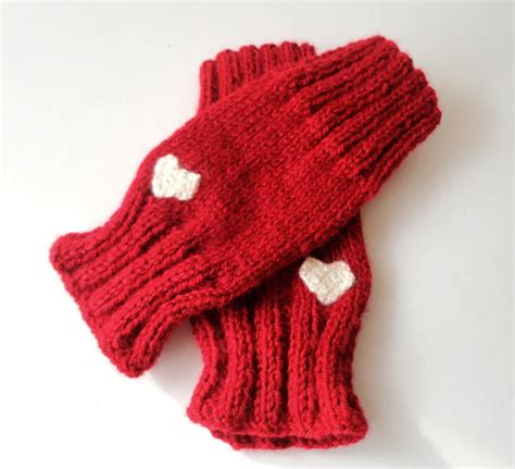 knit pattern heart mittens red knitted fingerless gloves heart gloves gift by