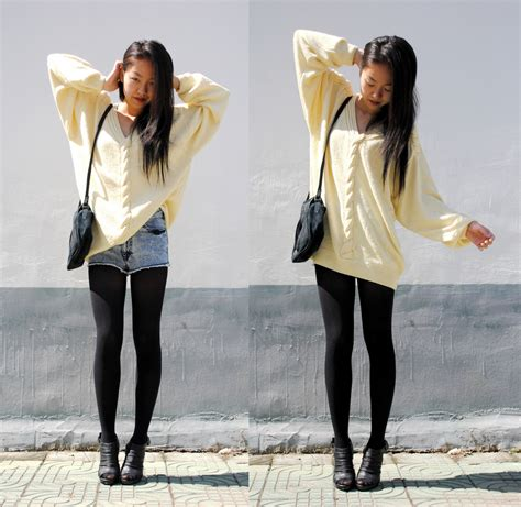 big sweaters meijia s vintage big sweater american apparel tights big sweater lookbook