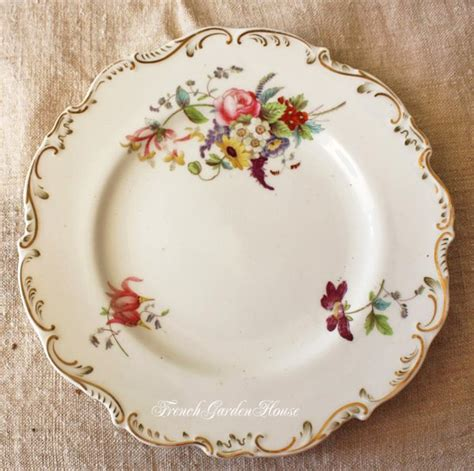 French Country Pottery - antique old paris porcelain hand painted floral plates set 5
