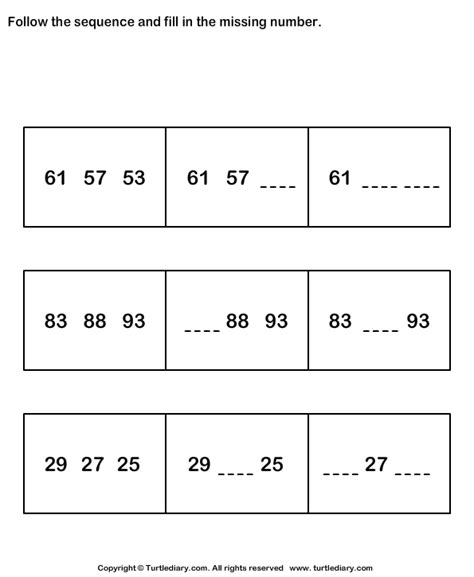 Arithmetic Reasoning Worksheets by Sequence Turtlediary