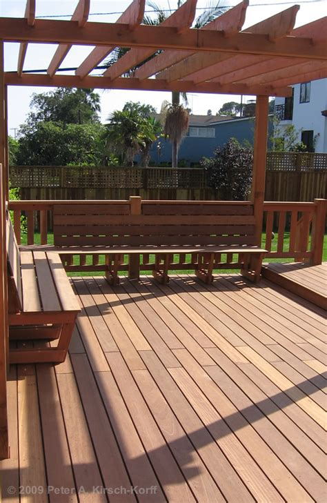 build deck bench seating pergola on deck with built in seating ours will kind of