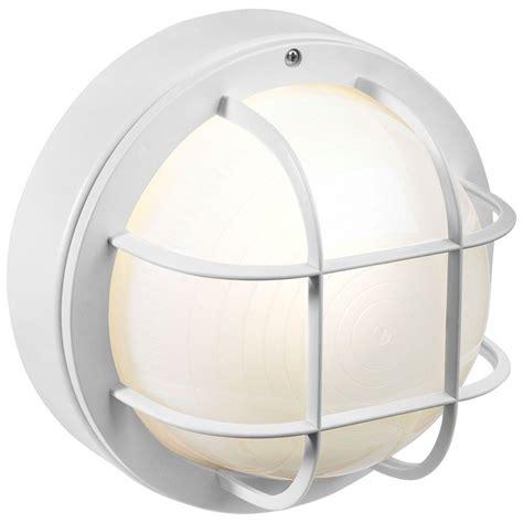 nautical outdoor lighting home depot newport coastal 8 in white outdoor incandescent round
