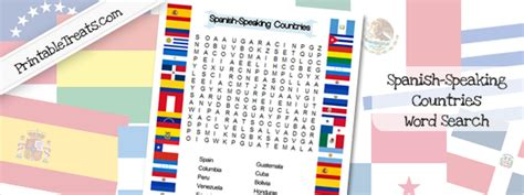 printable word search of spanish speaking countries spanish speaking countries word search printable treats com