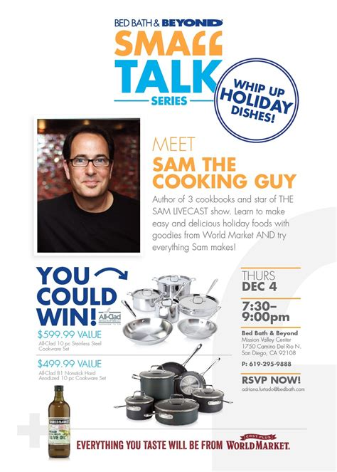bed bath and beyond mission valley holiday food demo bed bath beyond sam the cooking guy